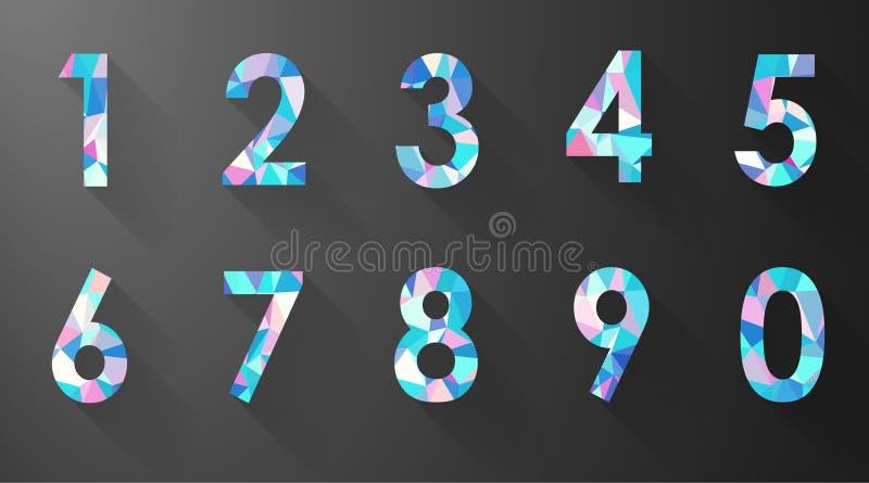 Número del polígono fijado en fondo negro stock de ilustración
