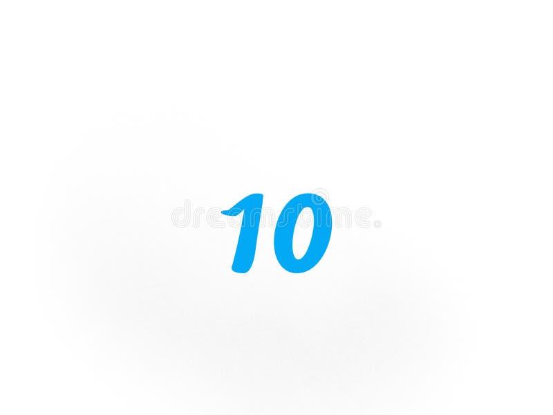 Número dez na cor azul fotos de stock