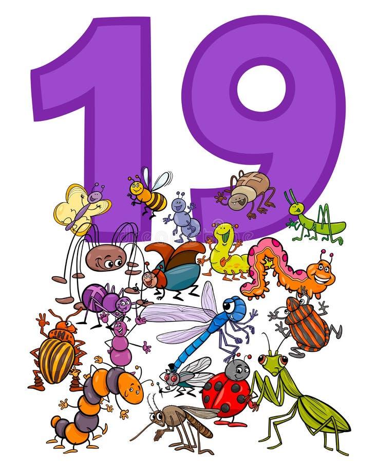 Número dezenove e grupo dos insetos dos desenhos animados ilustração do vetor