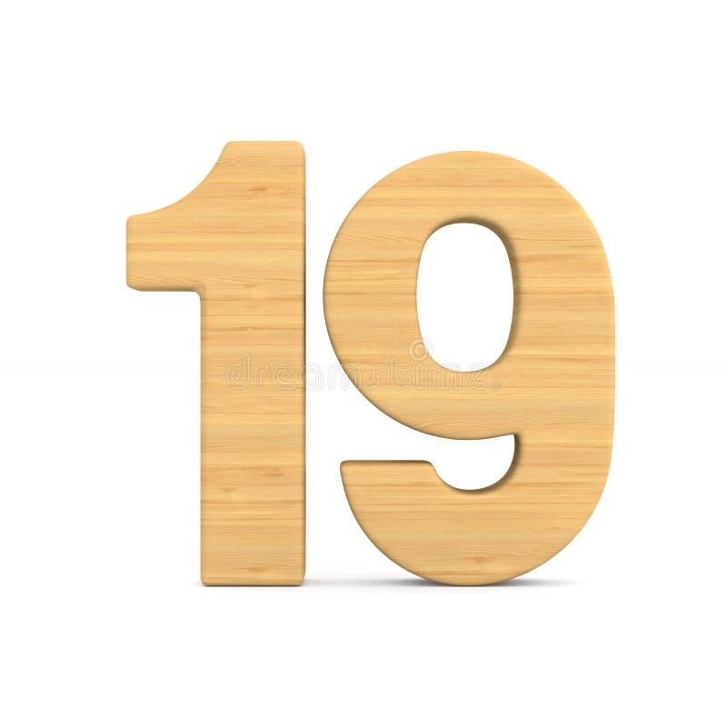 Número dezenove no fundo branco Ilustração 3d isolada ilustração do vetor