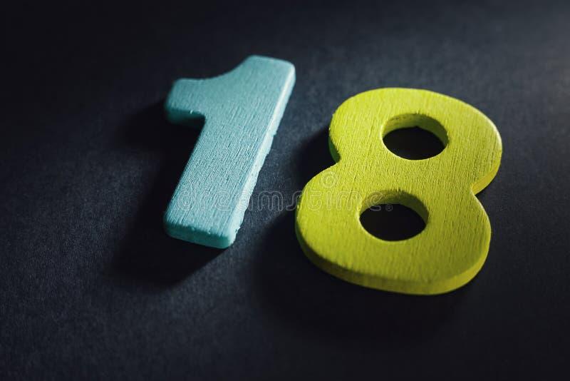 Número dieciocho fotos de archivo libres de regalías
