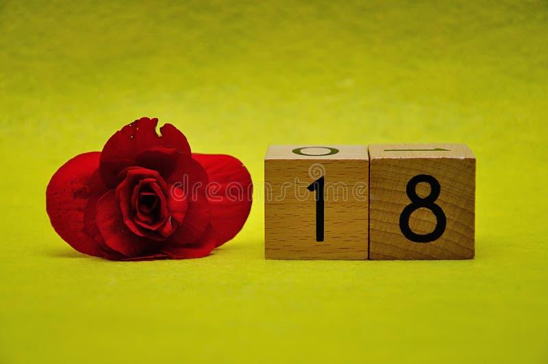 Número dieciocho con una flor roja fotos de archivo