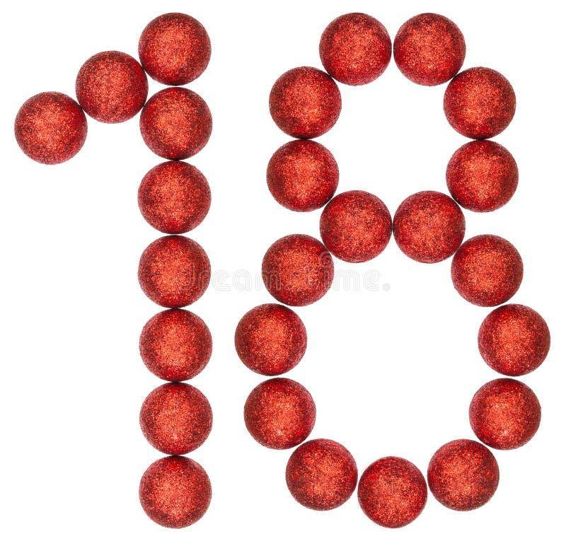 Número 18, dieciocho, de las bolas decorativas, aisladas en b blanco fotografía de archivo libre de regalías