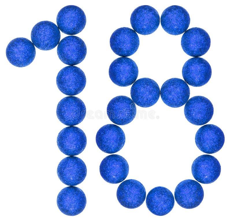 Número 18, dieciocho, de las bolas decorativas, aisladas en b blanco imágenes de archivo libres de regalías