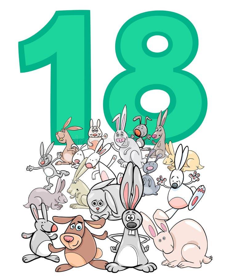 Número dieciocho y grupo de los conejos de la historieta ilustración del vector