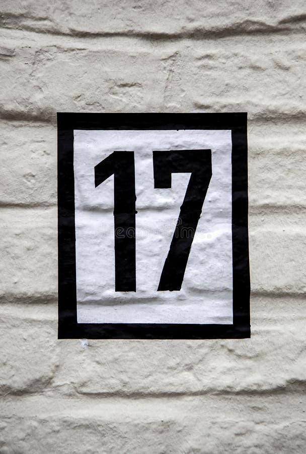 Número diecisiete de información imagenes de archivo
