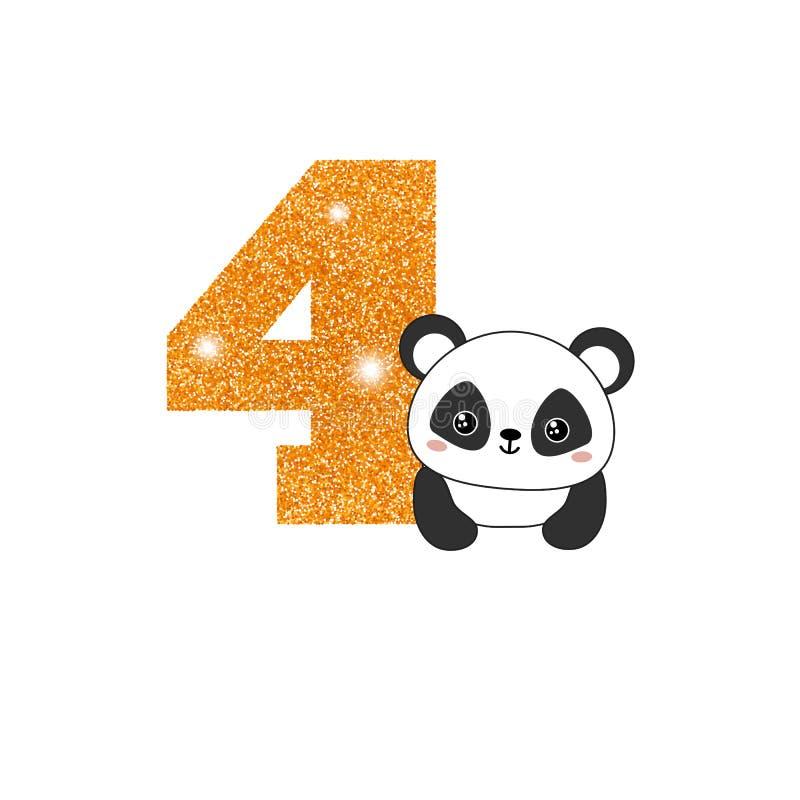 Número do aniversário do aniversário com panda bonito ilustração royalty free