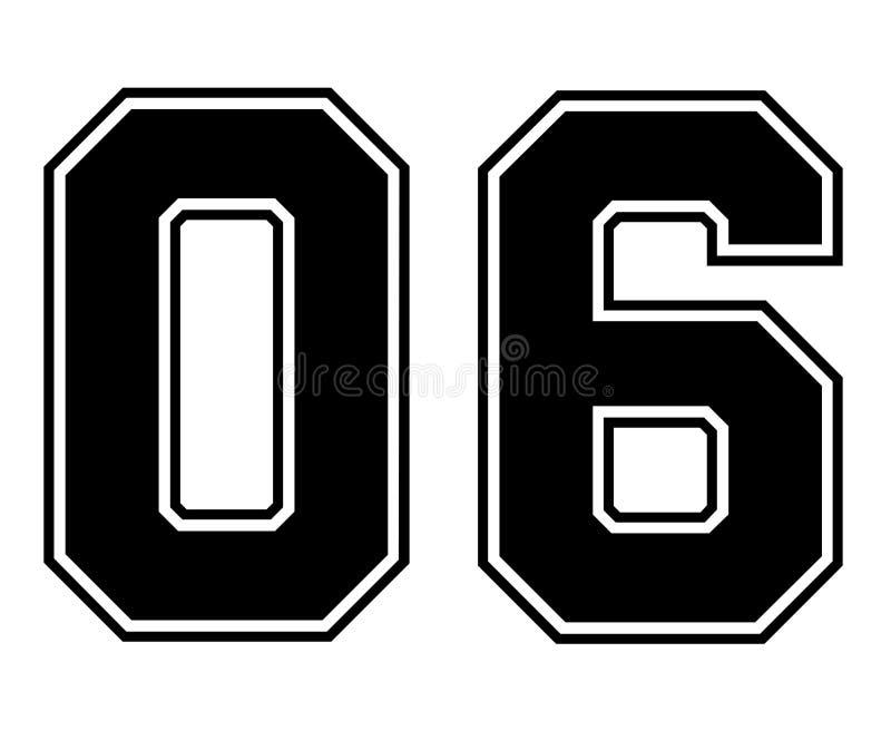 Número do jérsei do esporte do vintage de 06 clássicos no número preto no fundo branco para o futebol americano, o basebol ou o b ilustração do vetor