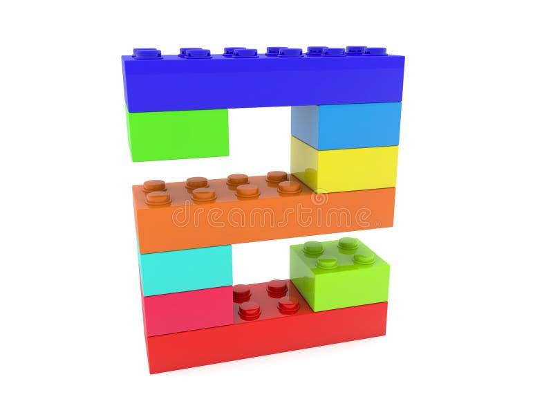 Número dois construído dos tijolos do brinquedo ilustração stock