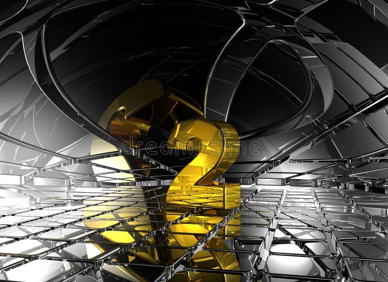 Número dois no espaço futurista abstrato ilustração royalty free