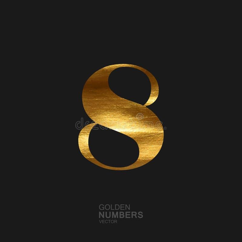 Número dourado 8 ilustração royalty free