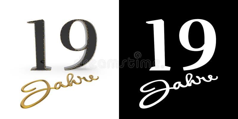 Número dourado alemão dezenove anos 3d rendem ilustração stock