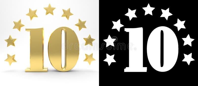 Número dourado dez no fundo branco com a sombra da gota e o canal alfa, decorados com um círculo das estrelas ilustração 3D ilustração royalty free