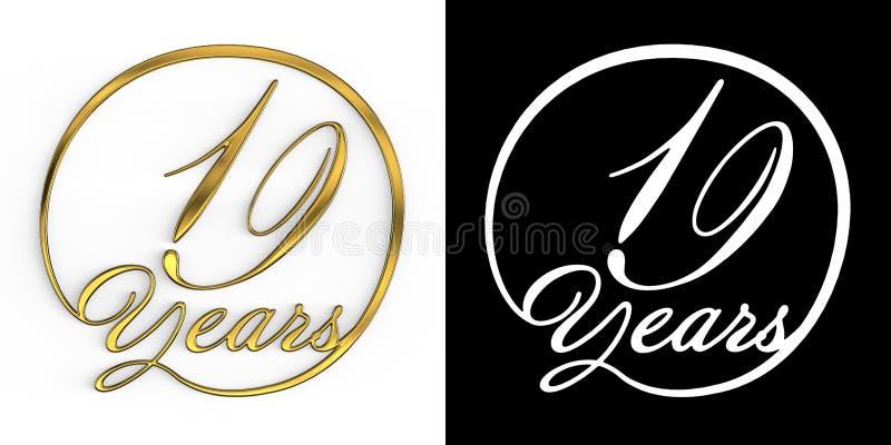 Número dourado dezenove anos ilustração do vetor