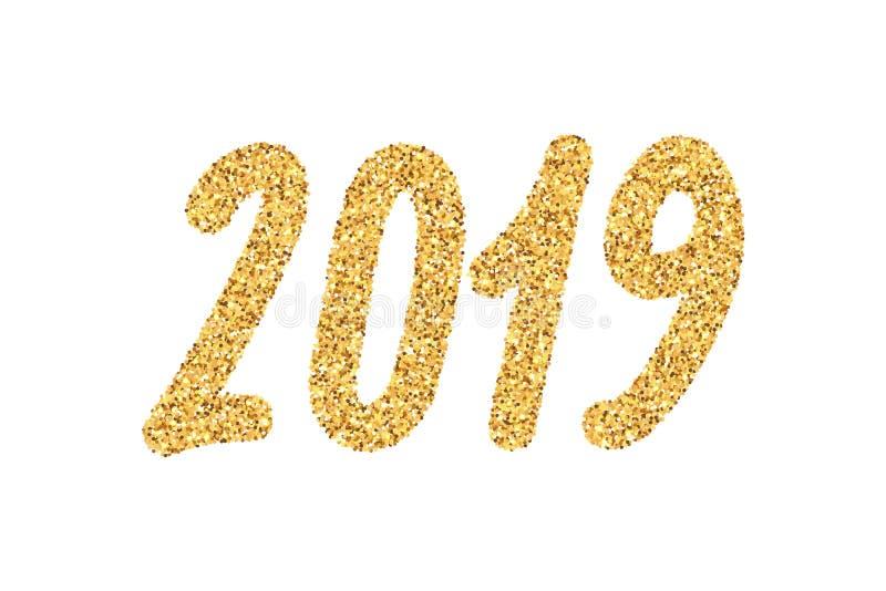 Número dourado do ano 2019 novo com sparkles brilhantes ilustração royalty free
