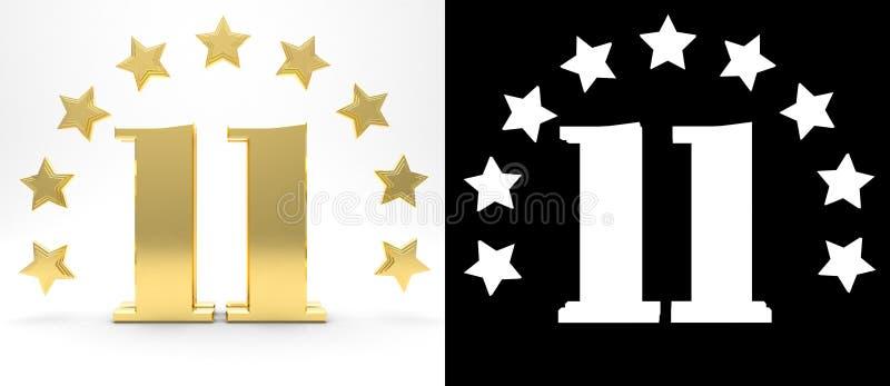 Número dourado onze no fundo branco com a sombra da gota e o canal alfa, decorados com um círculo das estrelas ilustração 3D ilustração stock