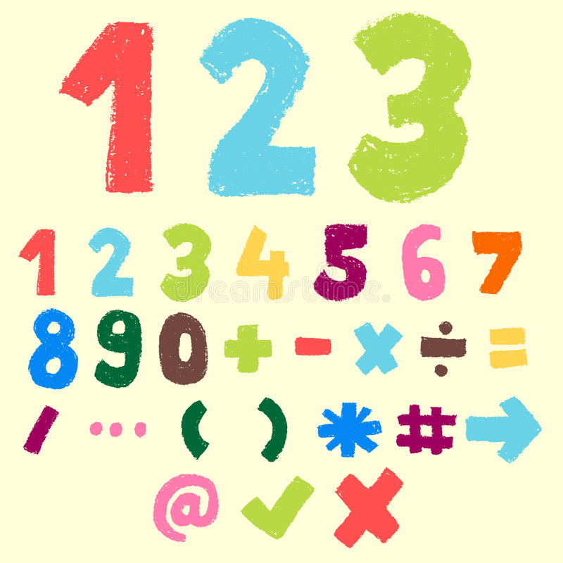 Número e símbolo coloridos tirados mão ilustração royalty free