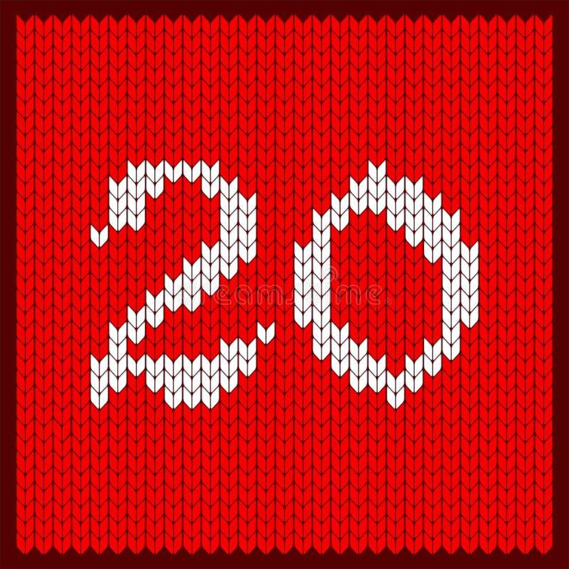 Número feito malha vinte ilustração stock