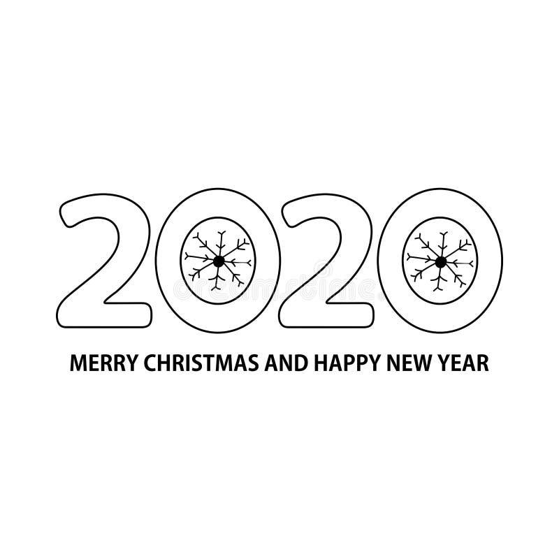Número 2020, flocos de neve e Feliz Natal do texto e ano novo feliz no fundo branco ilustração do vetor