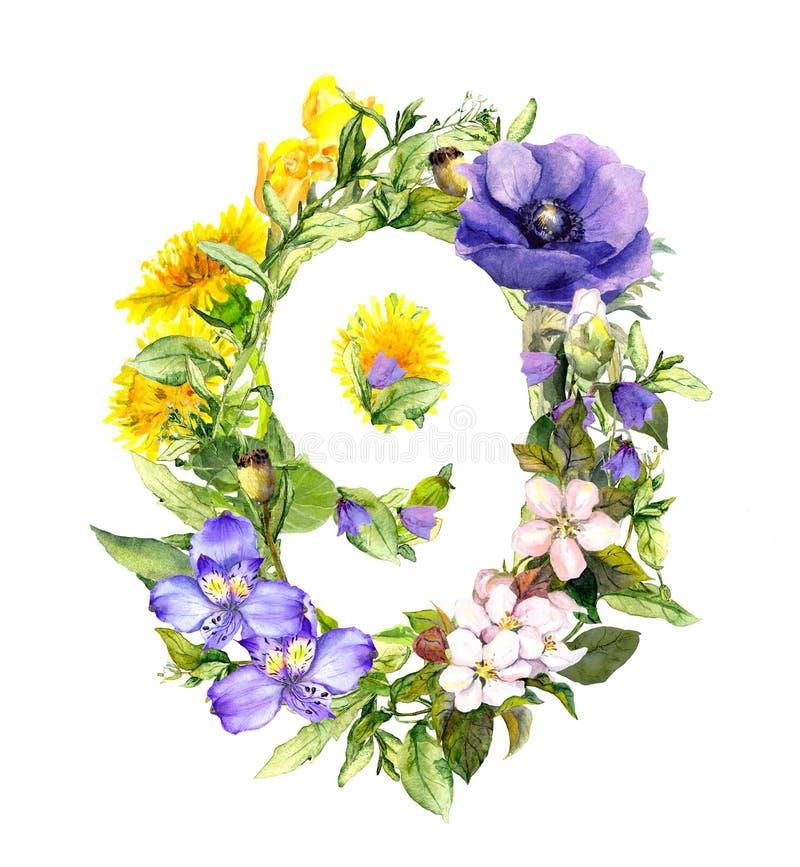 Número floral 9 - nove do verão, das flores da mola e da grama watercolor ilustração royalty free