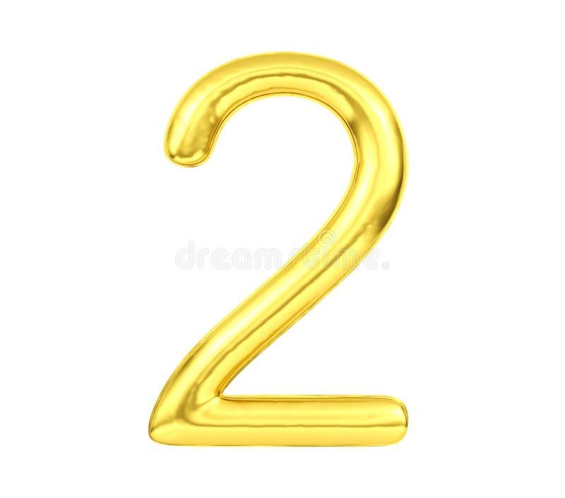 Número 2, globo de oro número dos aislado en el fondo blanco, representación 3D stock de ilustración