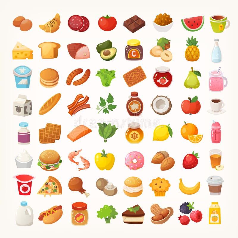 Número grande de comidas de diversas categorías libre illustration