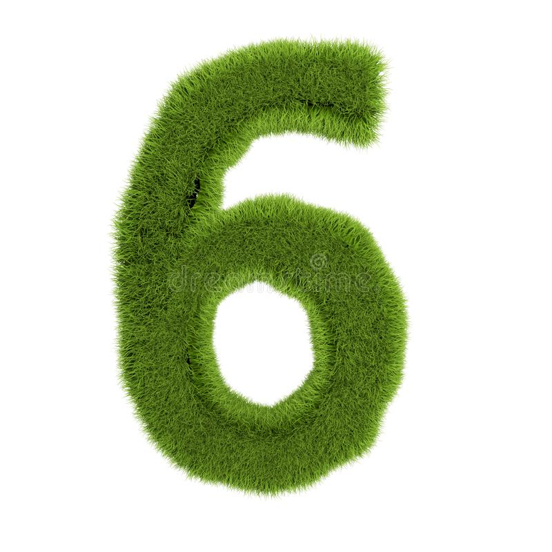 Número 6, hecho de césped aislado de fondo blanco. hierba verde cubierta con símbolo. Carta ecológica. Ilustración 3d libre illustration