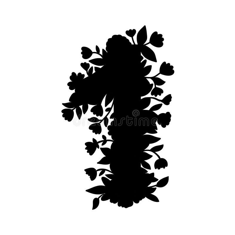 Número laçado floral um com flores, folhas e detalhes ervais Silhueta preta Elemento para etiquetas, álbum de recortes do projeto ilustração do vetor