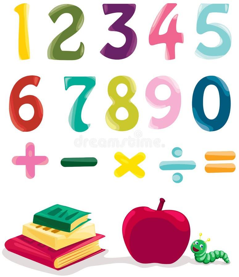 Número, libros y manzana stock de ilustración