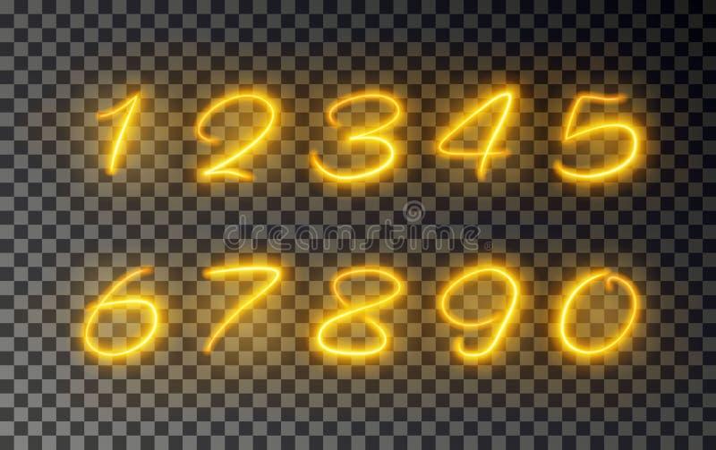 Número ligero de línea efecto, vector del resplandor del oro Rastro ligero del fuego que brilla intensamente Efecto de número mág stock de ilustración