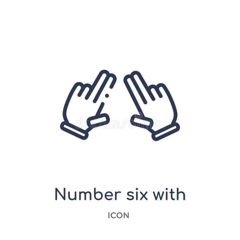Número linear seis con seis iconos de los fingeres de las manos y de la colección del esquema de los guestures Número de línea fi stock de ilustración