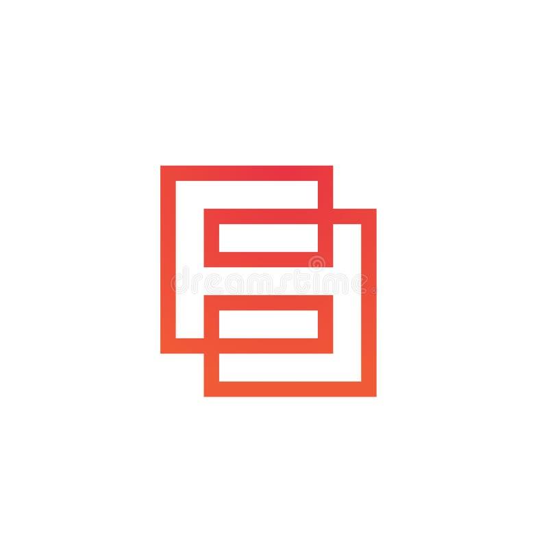 Número 8 Logo Concept, linha estilo fina, vermelho do inclinação e cor alaranjada, vetor Monoline Logo Inspiration ilustração stock