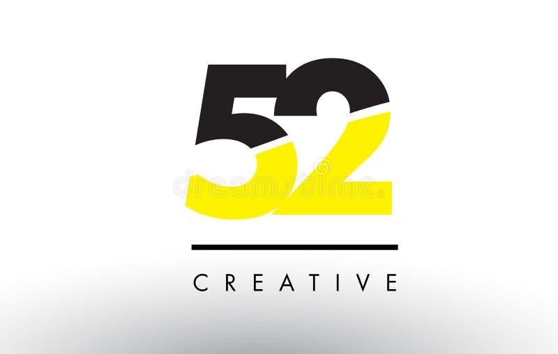 52 número negro y amarillo Logo Design stock de ilustración