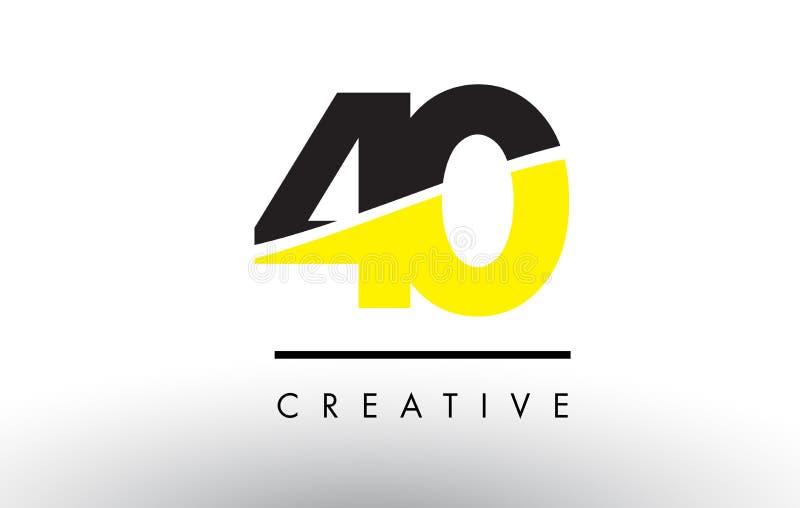 40 número negro y amarillo Logo Design ilustración del vector