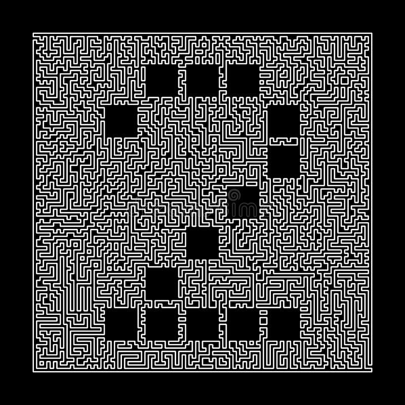 Número 2 no quadro do labirinto Dígito ao estilo do labirinto labirinto Ilustração isolada no preto ilustração do vetor