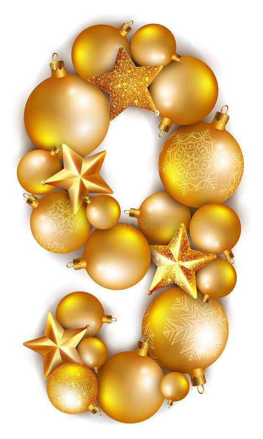 Número nove 9 feito de bolas e de estrelas brilhantes da árvore de Natal ilustração do vetor