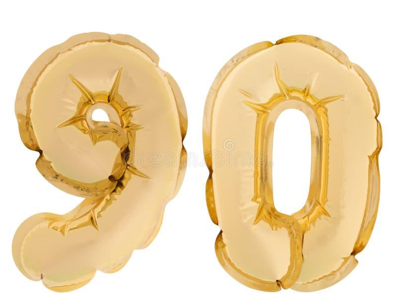 Número 90, noventa, balões do hélio da cor do ouro isolados no fundo branco cor do ouro fotografia de stock