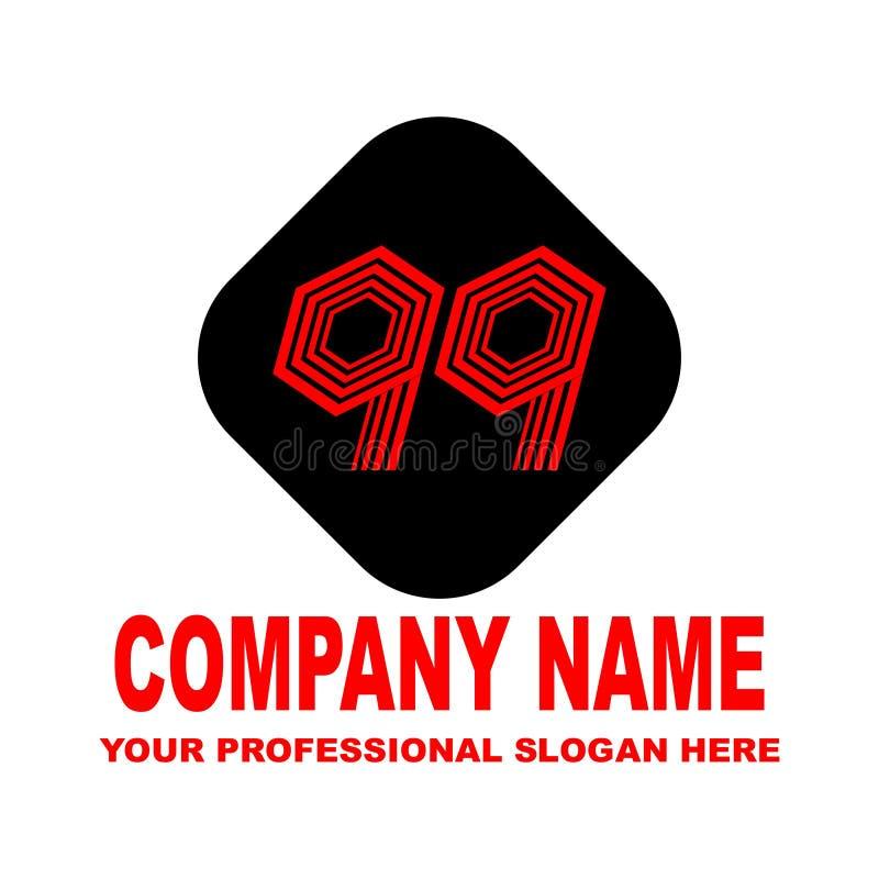 Número noventa y nueve Logotipo simple en el vector foto de archivo