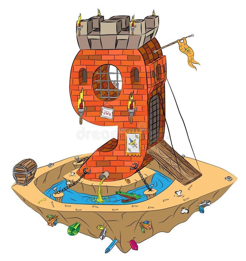 Número nueve como castillo medieval en la isla del vuelo libre illustration