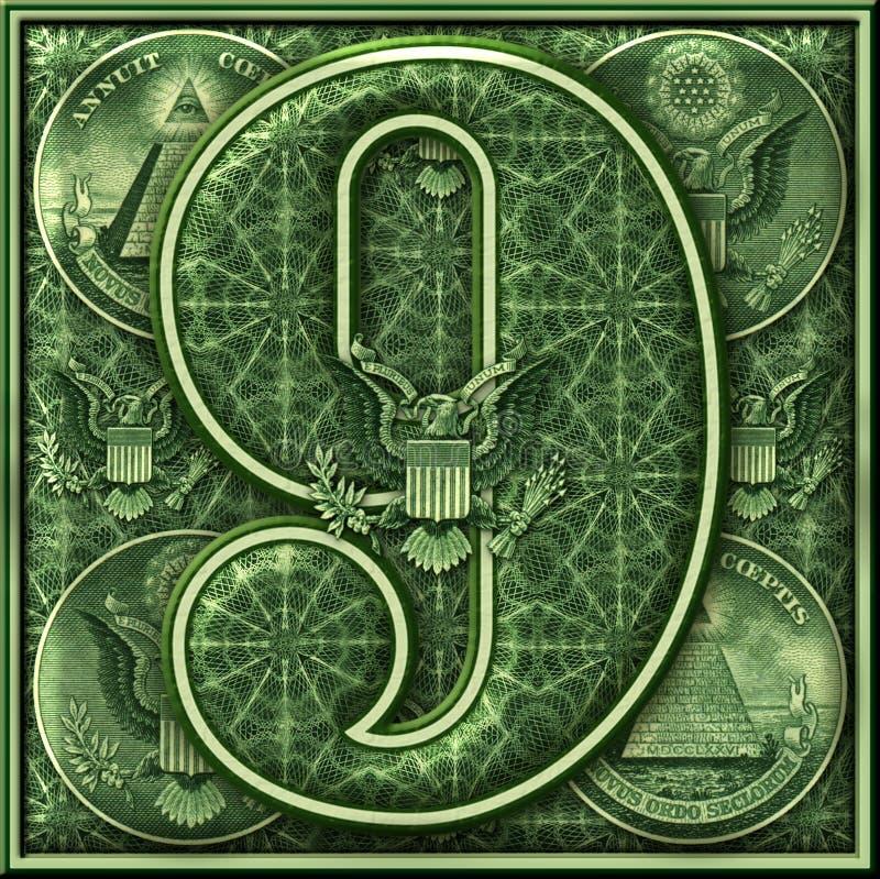 Número nueve presentado con un tema iluminado del dinero stock de ilustración