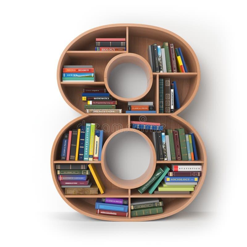 Número 8 ocho Alfabeto bajo la forma de estantes con isola de los libros ilustración del vector