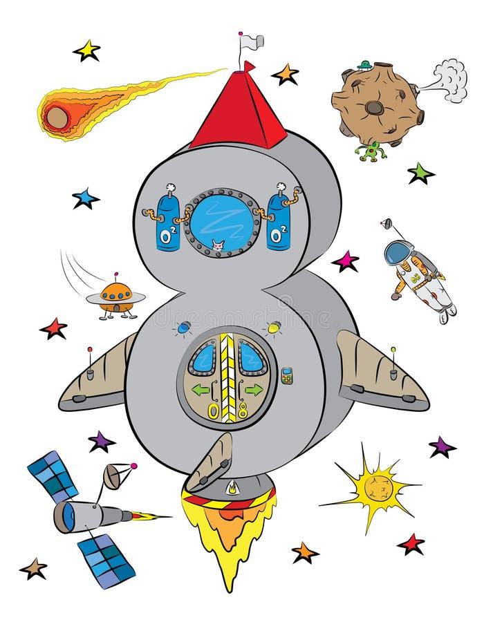 Número ocho como Rocket In un espacio del cosmos libre illustration