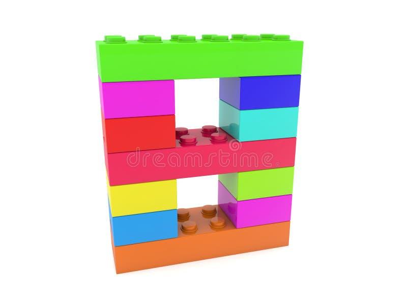 Número ocho construido de ladrillos del juguete libre illustration