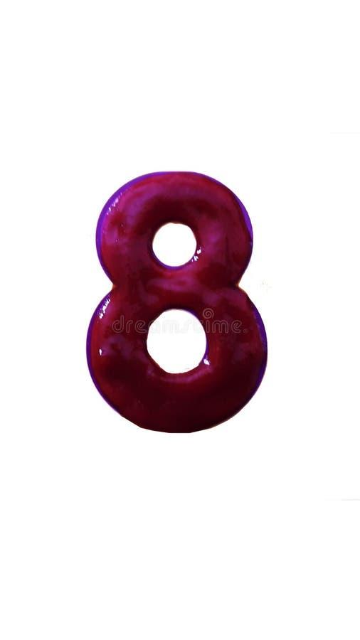 Número ocho hecho con el ketchup del tomate aislado en el fondo blanco fotografía de archivo