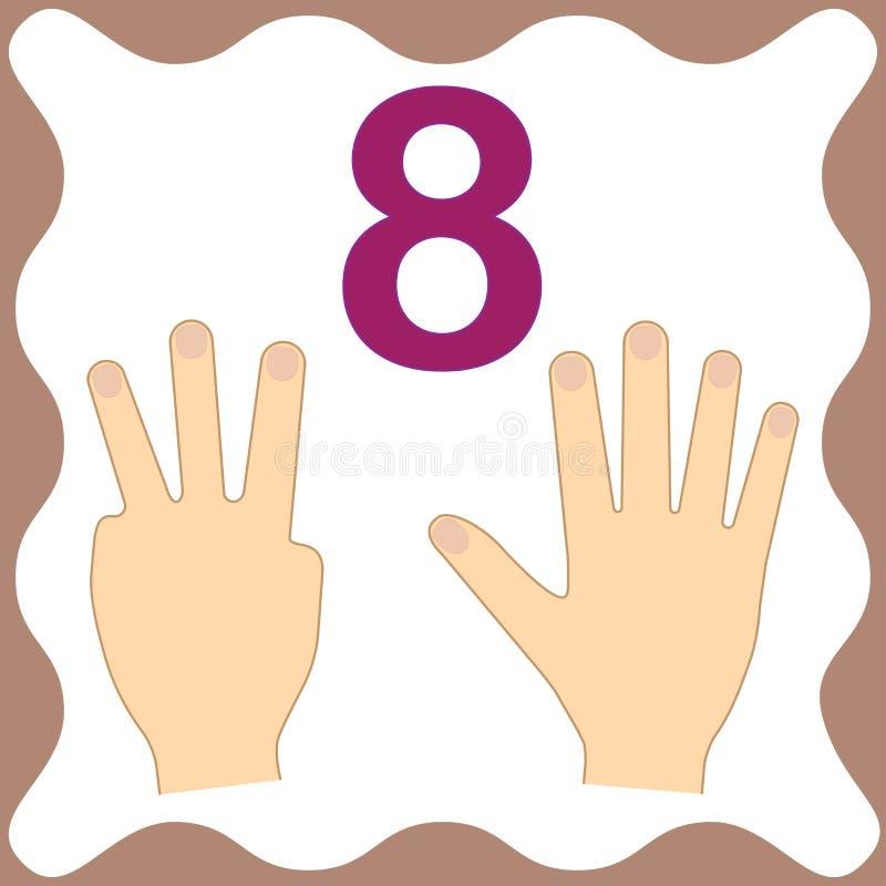 Número 8 ocho, tarjeta educativa, aprendiendo la cuenta con los fingeres stock de ilustración