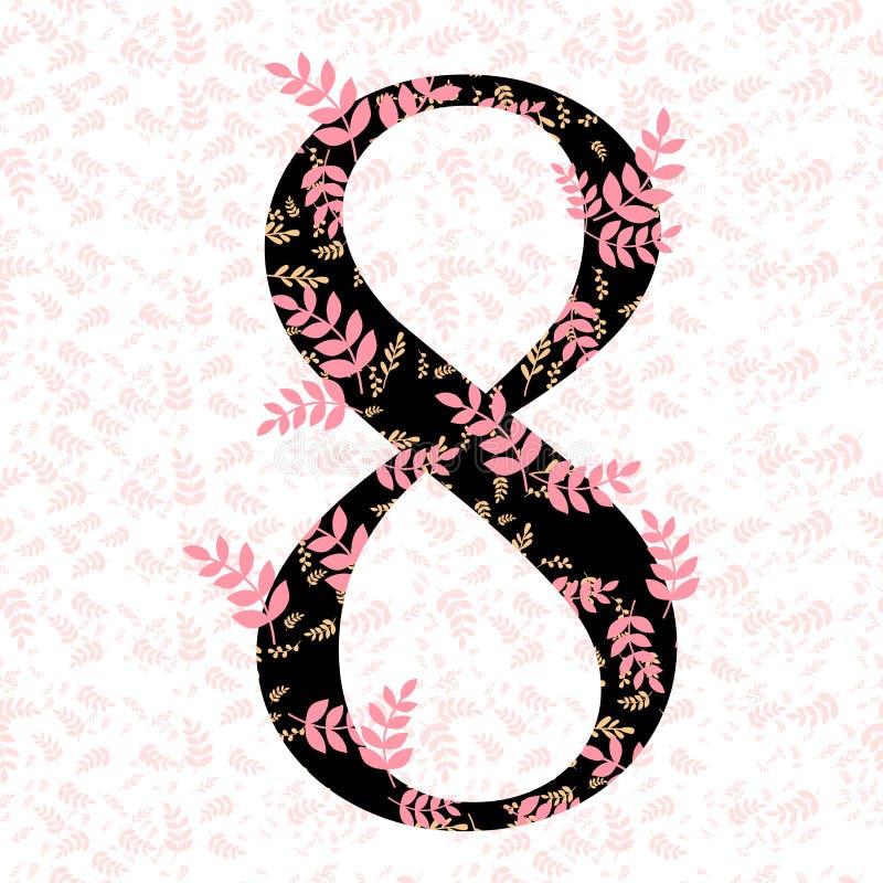 Número oito com floral e licença na ilustração sem emenda do projeto do teste padrão do rosa foto de stock royalty free