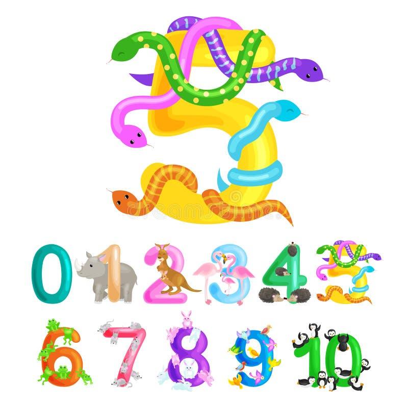 Número ordinal cinco para los niños de enseñanza que cuentan la serpiente con la capacidad de calcular alfabeto del ABC de los an libre illustration