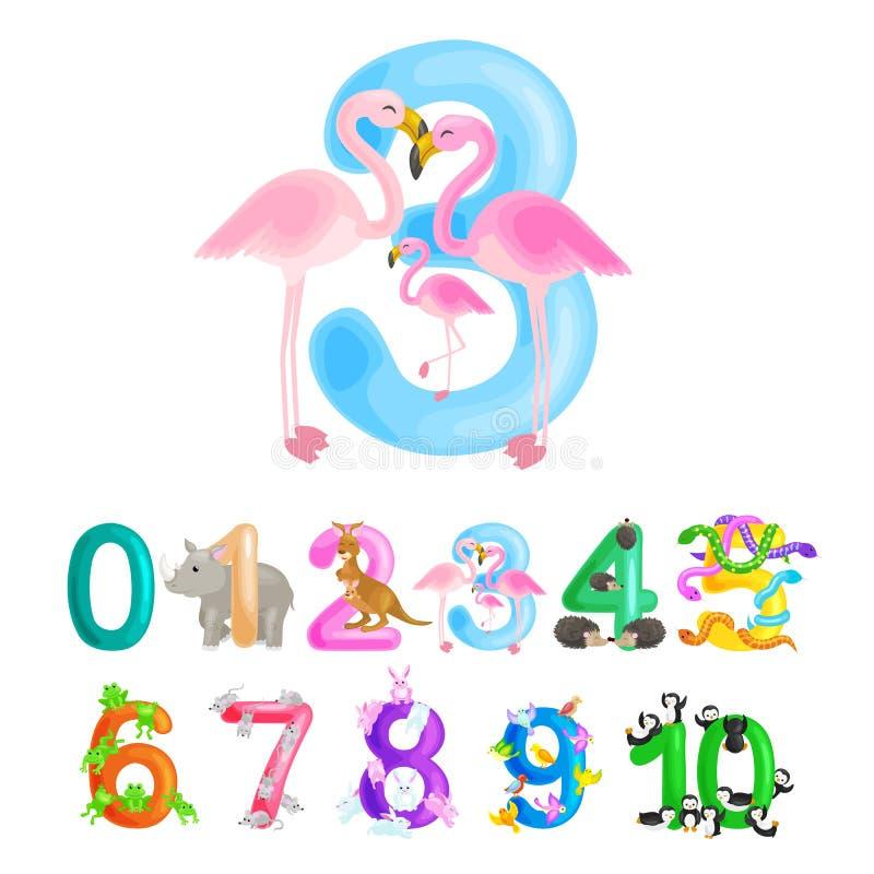 Número ordinal 3 para los niños de enseñanza que cuentan tres flamencos con la capacidad de calcular el ABC de los animales de la libre illustration