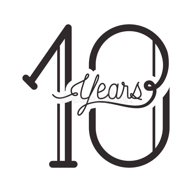 Número 10 para el icono de la tarjeta de la celebración del aniversario ilustración del vector