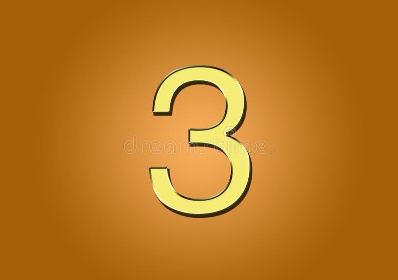 Número 3 para la creación de contenido ilustración del vector